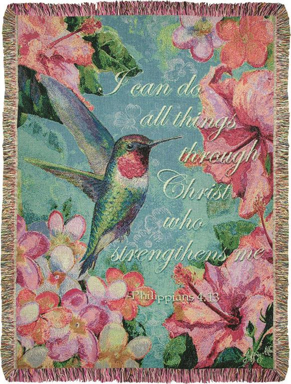*NEW* HUMMINGBIRD HIBISCUS WITH VERSE TAPESTRY THROW