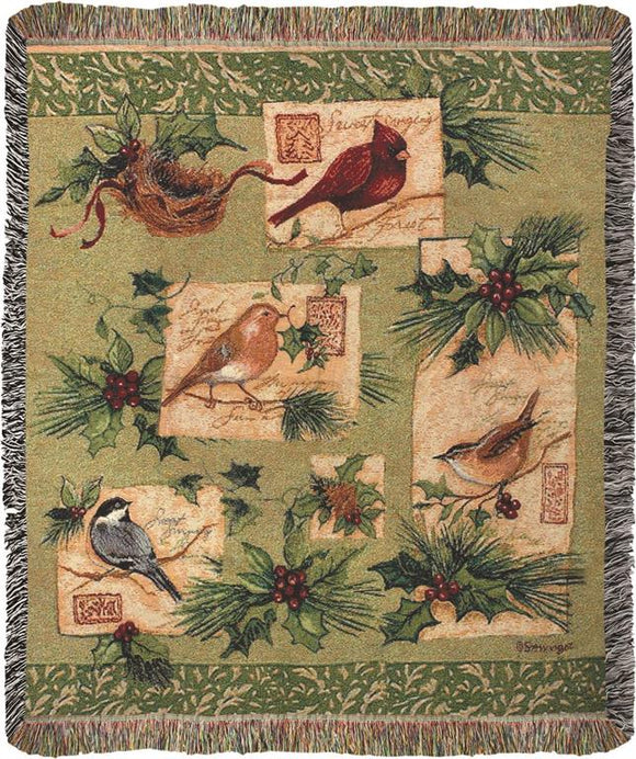 *NEW* HOLIDAY BIRD TAPESTRY THROW