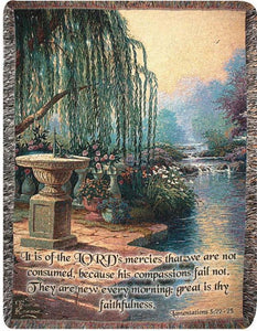 HOUR OF PRAYER WITH VERSE- THOMAS KINKADE TAPESTRY THROW