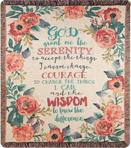SERENITY PRAYER FLORAL TAPESTRY THROW