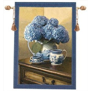 BLUE WILLOW GRANDE' TAPESTRY WALL HANGING