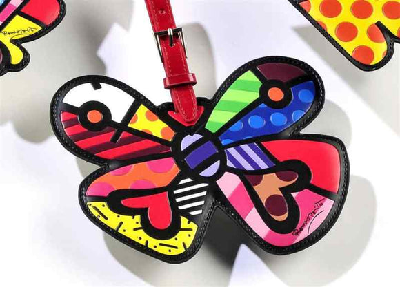 ROMERO BRITTO  BUTTERFLY WITH HEARTS  LUGGAGE/BACKPACK ID TAG