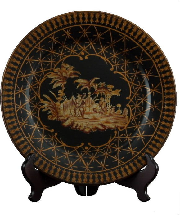 Black & Gold Ceramic Oriental Designed Decorative Plate