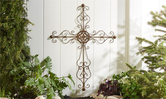 Sculpted Iron Wall Cross With Scrolling Detail