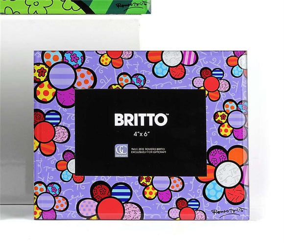 ROMERO BRITTO GLASS PHOTO FRAME WITH FLOWER DESIGN