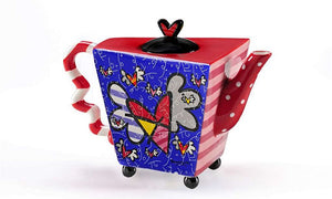 "ROMERO BRITTO CERAMIC ""FLYING HEART"" TEAPOT"