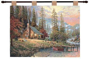 A PEACEFUL RETREAT TAPESTRY WALL HANGING BY THOMAS KINCADE