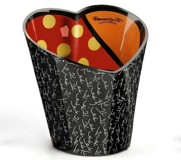 ROMERO BRITTO GLASS HEART ICE WINE OR CHAMPAGNE BUCKET