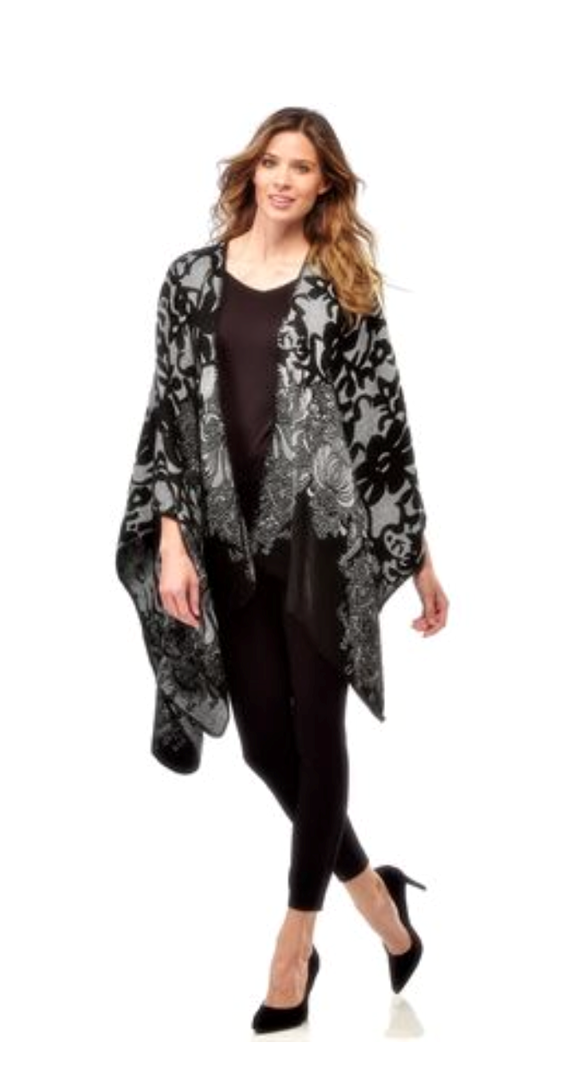 CHARLIE PAIGE WOVEN JACQUARD BLACK & WHITE CAPE, ONE SIZE