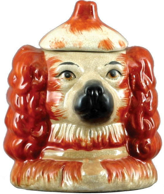 Staffordshire Reproduction Rust Colored Dog Head Box/Jar