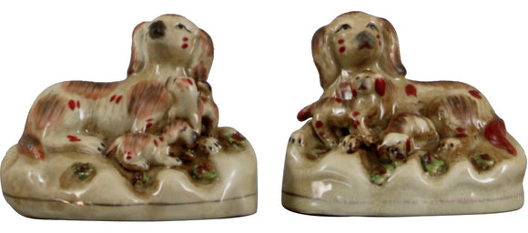 Staffordshire Reproduction Dogs With Puppies Pair, Set of 2