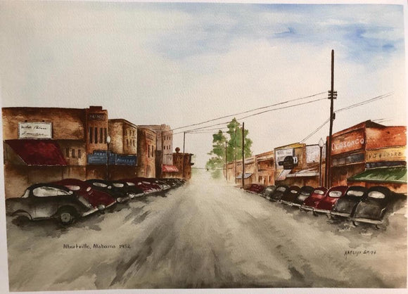 "Limited Edition Numbered Medium Size Painting Print ""Downtown Albertville, Al 1952"