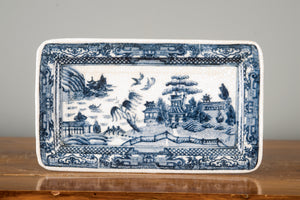 Blue And White Willow Pattern Porcelain Rectangular Tray