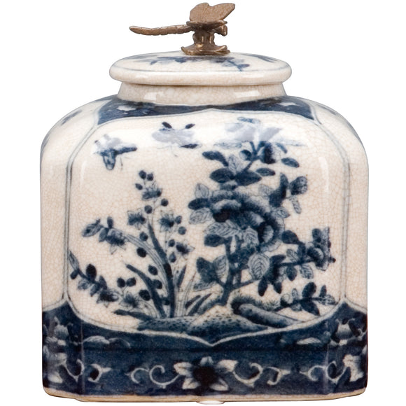 Blue And White Porcelain Box With Bronze Dragonfly On Top