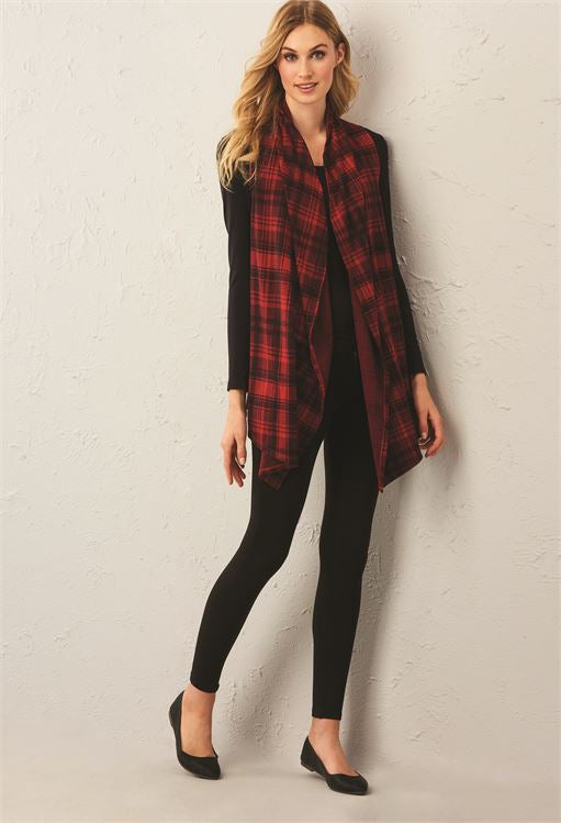 CHARLIE PAIGE RED & BLACK PLAID FLOWING VEST SIZE: SMALL/MEDIUM