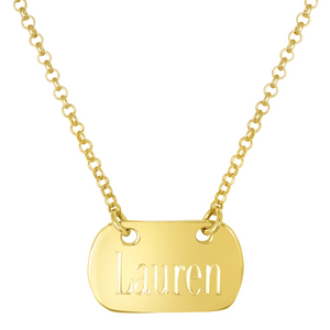 "Gold Vermeil Tara Tag Necklace Block With 16""-18"" Adjustable Chain"