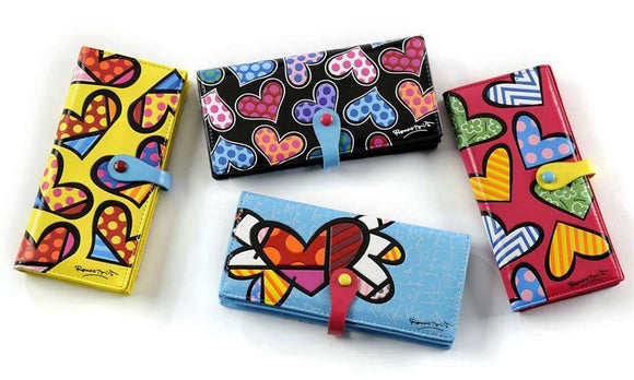 ROMERO BRITTO LARGE ASSORTED HEART Wallet/Billfold Choose 1