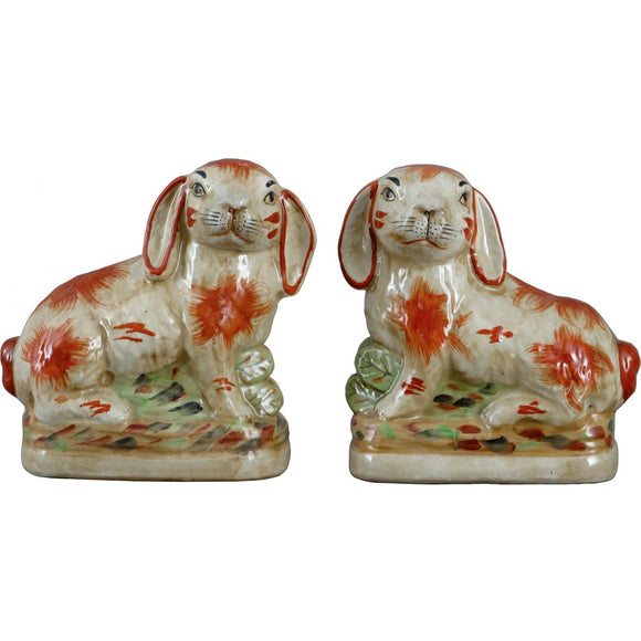 Staffordshire Reproduction Pair of Orange Rabbits, Set of 2