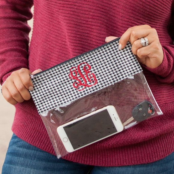 Clear Zip Pouch Wristlet/Crossbody In Houndstooth
