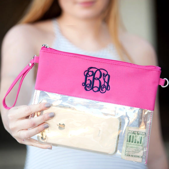 Clear Zip Pouch Wristlet/Crossbody In Hot Pink