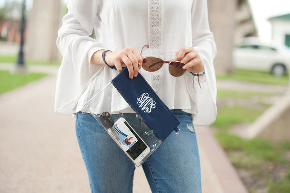 Clear Zip Pouch Wristlet/Crossbody In Navy