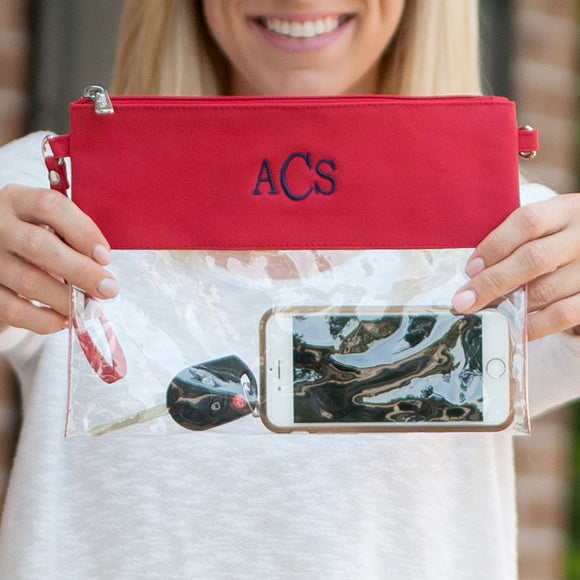 Clear Zip Pouch Wristlet/Crossbody In Red