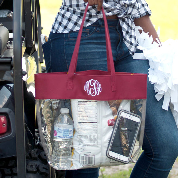 Clear Tote Bag In Garnet (Burgundy)