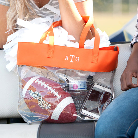 Clear Tote Bag In Orange