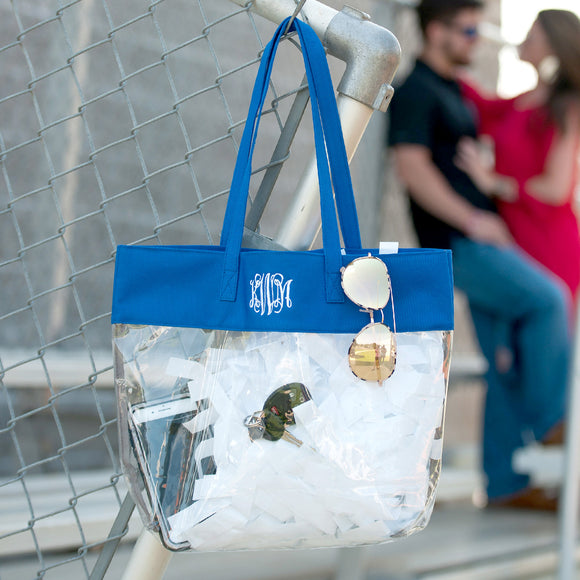 Clear Tote Bag In Royal Blue