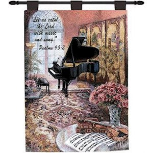 MUSIC ROOM W/VERSE TAPESTRY WALL HANGING