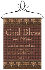 GOD BLESS OUR HOME TAPESTRY BANNERETTE WALL HANGING