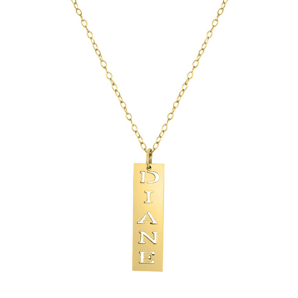 Mini Vertical Bar Name Necklace In Gold