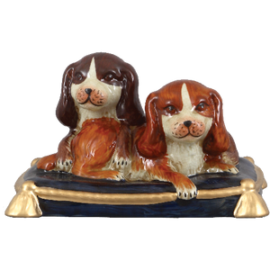 Staffordshire King Charles Spaniel Dog Pair On Pillow Figurine