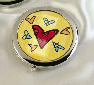 ROMERO BRITTO COMPACT WITH MIRRORS- YELLOW WITH HEARTS DESIGN