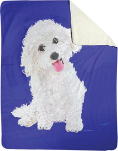 FIFI THE BICHON DOG FLEECE THROW