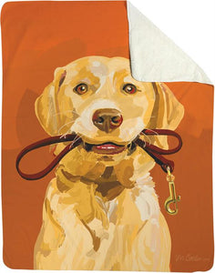 GOLDIE THE YELLOW LAB DOG FLEECE THROW