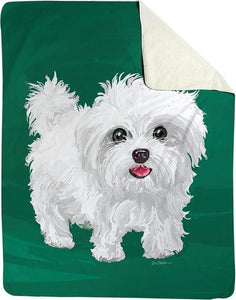 MINI THE MALTESE DOG FLEECE THROW