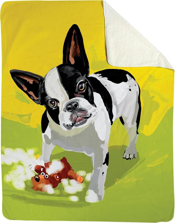 ZOE THE FRENCH BULLDOG DOG FLEECE THROW