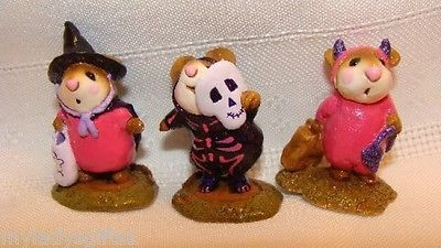 Wee Forest Folk Special Color Halloween Pink & Black Skeleton, Witch, & Devil Set