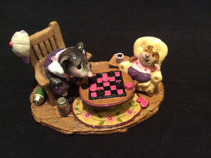 Wee Forest Folk Special Color Little Girl Laveder & Pink Checker Chums W/Full Sig.