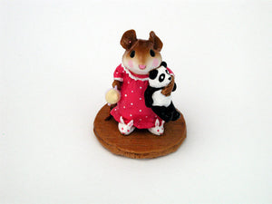 Wee Forest Folk Special Color Pink Mousey Bunny Slippers With Panda