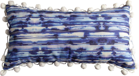 *New* Craft Blue & White Rectangle Pillow With Pom Poms