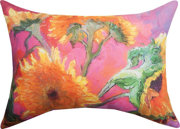*NEW* SUNFLOWERS IN PINK RECTANGLE PILLOW