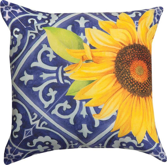 Indigo Sunflower Indoor/Outdoor Pillows Set of 2