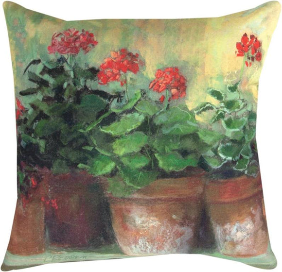 Kathleen's Geraniums II Indoor/Outdoor Pillows Set of 2