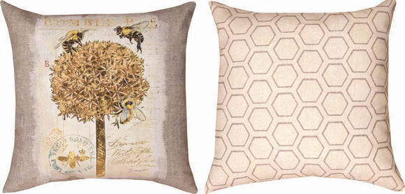 Natural Life Bumble Bee Reversible Indoor/Outdoor Pillows Set of 2
