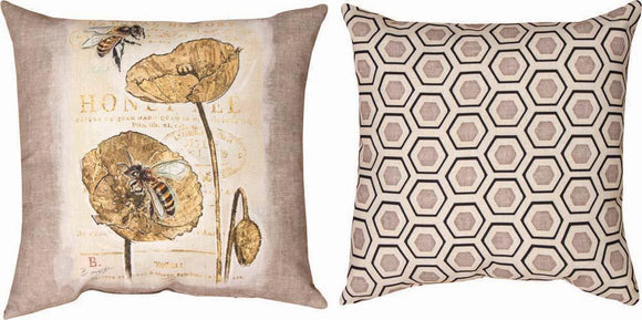 Natural Life Honey Bee Reversible Indoor/Outdoor Pillows Set of 2