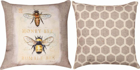 Natural Life Bee Natural History Reversible Indoor/Outdoor Pillows Set of 2