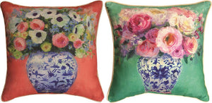 *NEW* CHINOISERIE GREEN & PEACH FLOWERS PILLOWS SET OF 2