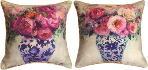 *NEW* CHINOISERIE PINK ROSES PILLOWS SET OF 2